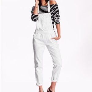 Old Navy Five Pocket White Denim Overalls XS